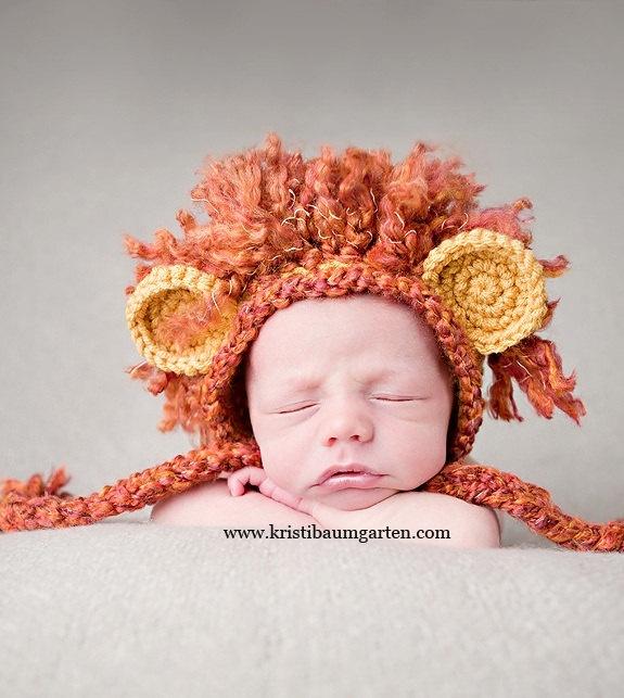 Baby LION MANE Crochet Hat Photo Prop Newborn 0 3 6 Months