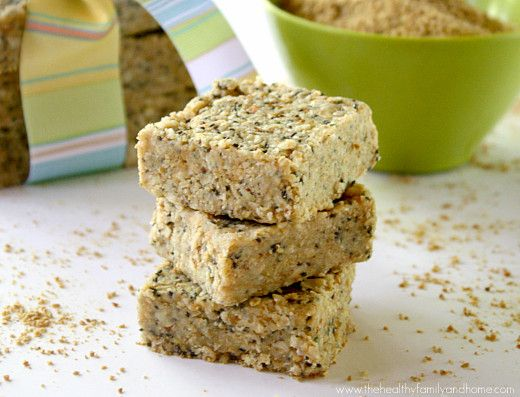 Raw-Hemp-and-Chia-Seed-Bars- tested and tried- I approve! I did a half-recipe though and found it was more than enough. Also subbed peanut butter the first time because I ran out of almond butter and subbed maple syrup for honey.