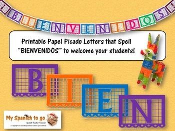 "FREE FOR A LIMITED TIME!  Here is a Power point with PNGs to print letters for a bulletin board, make your own banner, or to use as clip art (for use in the classroom only) that spell the word ""Bienvenidos.""  An easy way to decorate your room and make it look festive!"
