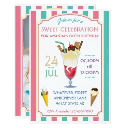 #photo - #Ice Cream Birthday Party add photo invitation