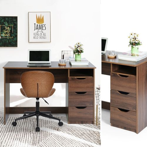 Swell Small Computer Desk With 3 Drawers Walnut Online Only In Home Remodeling Inspirations Cosmcuboardxyz