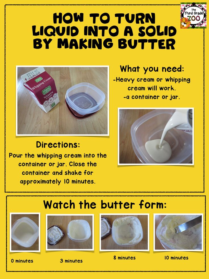 How to turn liquid into a solid by making butter. Learn about the science of matter in a fun and hands-on way.