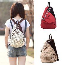 Новинка женщины рюкзак контрастность горошек кнопка украшения холст сумка хаки с красной точкой(China (Mainland))