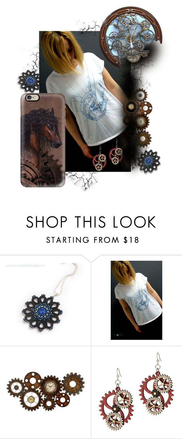 """Bike - my blue mechanical horse"" by landoflaces ❤ liked on Polyvore featuring Dot & Bo, Casetify, Blue, brown, clock, steampunk and Horse"