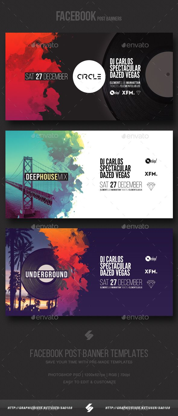 Electronic Music Party Vol3  Facebook Post Banner Templates  — PSD Template #inspiration #music #vinyl • Download ➝ https://graphicriver.net/item/electronic-music-party-vol3-facebook-post-banner-templates/18610692?ref=pxcr