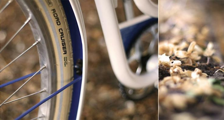 "BLAU ROUS | Standbikeme  Basis: BH mod. S 31 AZALEA Client: Adrián Frame style: Paseo bike Frame size: 54 cm Frame date: '80 Finish: White and blue adhesive vinyl details Speed: single speed with coasterbrake Components: Long Cintes Light brown with beige laces, wicker basket with handmade leather straps, rescued upholstered saddle, Schwalbe road cruiser cream tires, wellgo pedals, 26"" coasterbrake rear wheel."