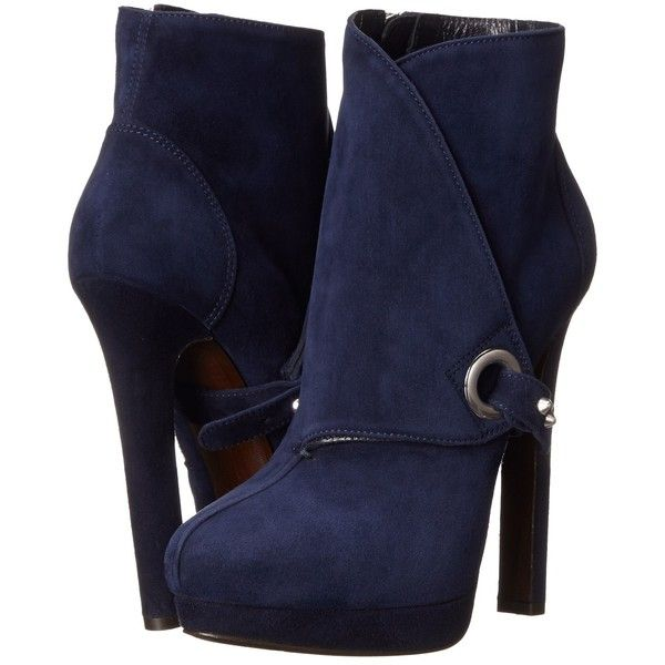 Alexander McQueen Stivto Pelle S. Cuoio Women's Boots ($475) ❤ liked on Polyvore featuring shoes, boots, ankle boots, navy, platform shoes, platform boots, navy boots, short boots and leather bootie