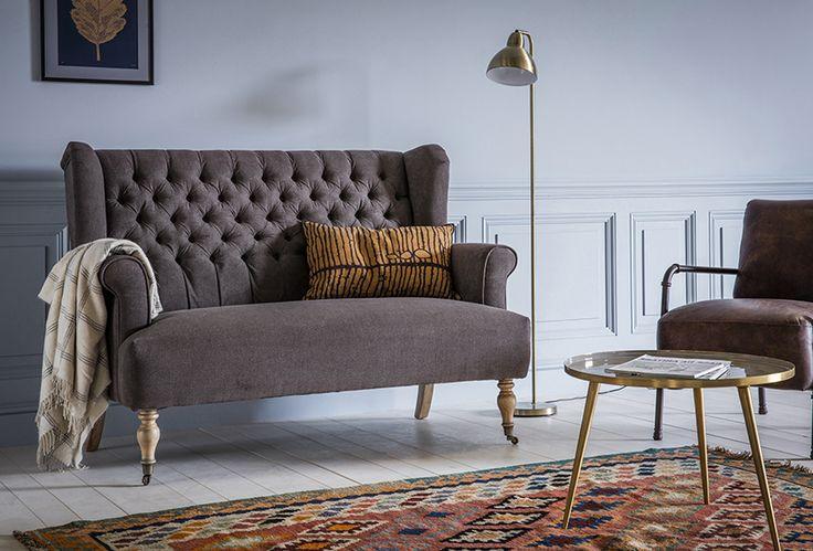 Bernie 2-Seater Sofa with Rex Armchair, Desi Floor Lamp, Nima Rug & Rochelle Side Table
