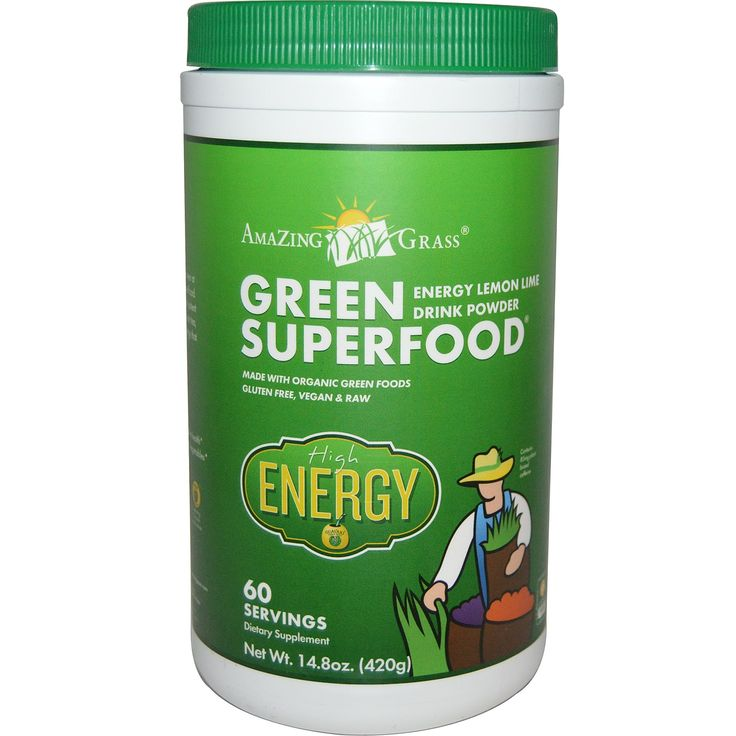 Amazing Grass, Green Superfood, Energy Lemon Lime Drink Powder, 14.8 oz (420 g)