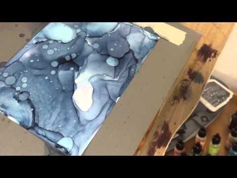 Alcohol Inks Tutorial: mono(bi)chromatic works on yupo - YouTube