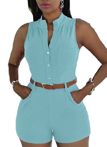 3c6b10fd8e55 FLCH YIGE Womens Sexy Sleeveless Slim Fitted Stand Up Collar Solid Button  Shorts Romper Playsuit