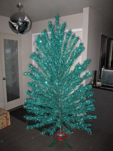 1950s 7ft teal green aluminum Christmas tree. GO BID!!!! (Update: Item ended at just over 200 bucks)
