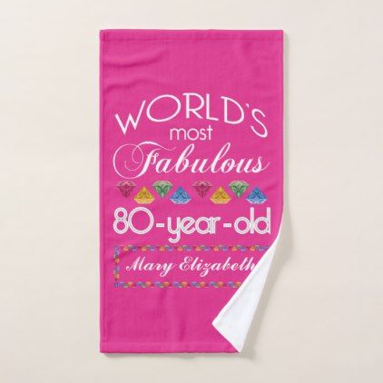 80th Birthday Most Fabulous Colorful Gems Pink Hand Towel - #customizable create your own personalize diy