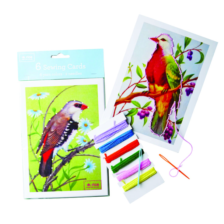 Bird-print sewing cards from RICE DK
