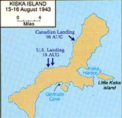 Kiska Island - 15-16 August 1943 (map). ALEUTIAN ISLAND WORLD WAR II CAMPAIGN. JUNE 3,1942-AUGUST 24, 1945. JAPAN / USA