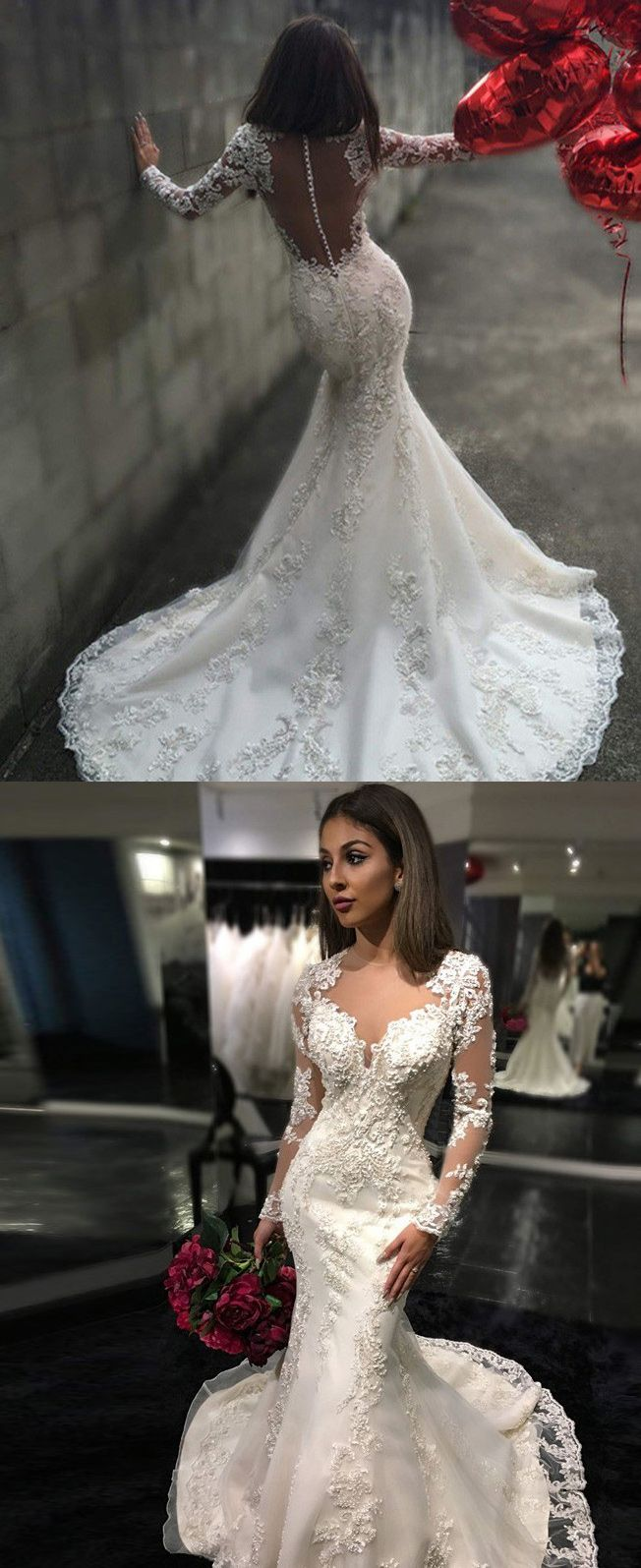 long mermaid wedding dresses with appliques, wedding dresses with long sleeves, mermaid wedding gown, wedding dresses long, dresses for wedding gown, new arrival wedding dresses, high quality wedding dresses, 2017 wedding dresses for women, women's wedding dresses