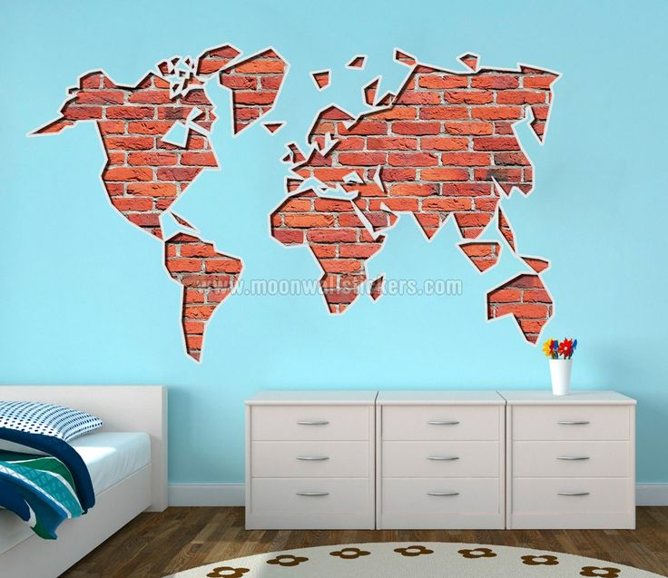 29 best WORLD MAPS images on Pinterest  World maps Wall stickers
