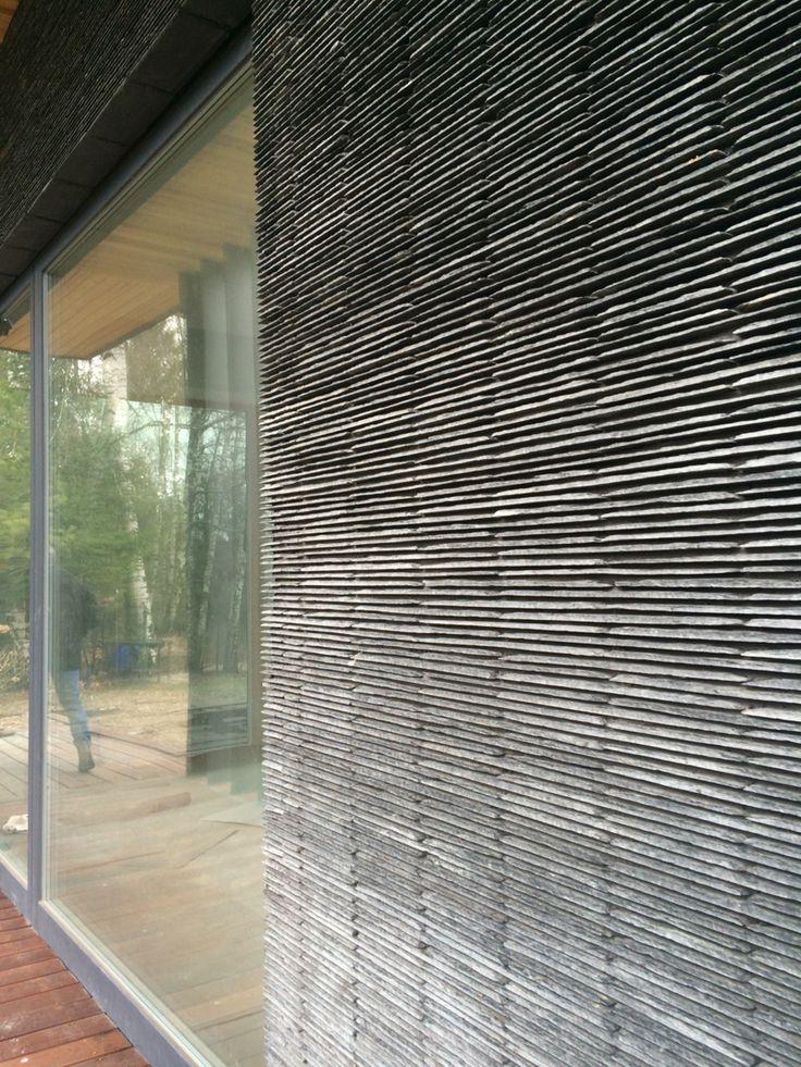 Фасад загородного дома #Прибалтика кровельный #сланец плитка 40х10х1 см