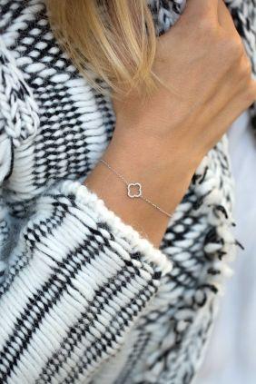 diamant armkettchen weissgold kleeblatt brillanten