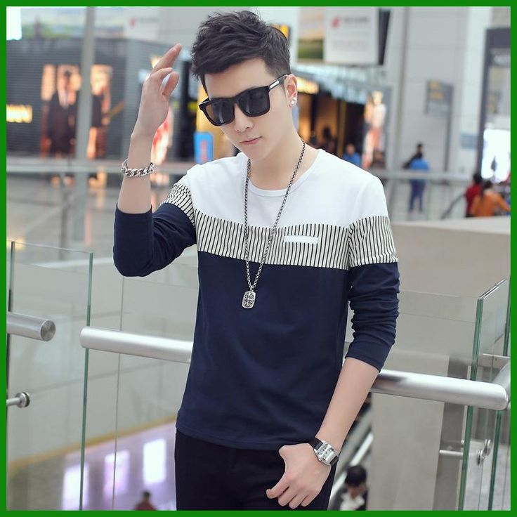 New Arrival Fashion T-Shirt Men Brand Long Sleeve Patchwork Striped T Shirts Mens Casual Hip Hop T Shirt Male Plus Size NZ110