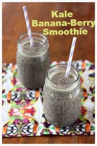 Kale Banana-Berry Smoothie - #Glutenfree, #Vegan   #Sugarfree via @➳ Beth // Tasty Yummies ➳/  // #kale #banana #smoothie #chia