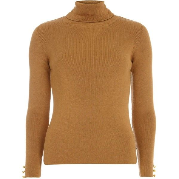 Dorothy Perkins Button Cuff Roll Neck Jumper found on Polyvore featuring tops, sweaters, jumpers, brown, women, turtle neck tops, brown turtleneck sweater, brown sweater, jumper top and jumpers sweaters