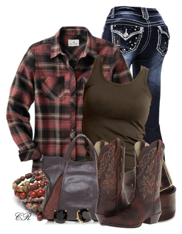 """Country Clothing"" by colierollers ❤ liked on Polyvore featuring VILA, Diesel, Francesco Biasia, Ariat, Kate Spade and country"