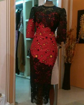 Definitely sewing this... Ankara and lace