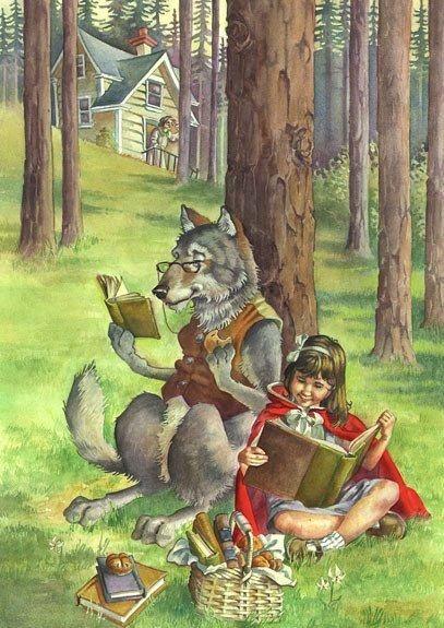 O Lobo Leitor: A menina do Capuchinho Vermelho e o lobo mau lêem juntos...