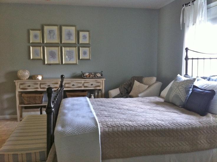 Guest Room Farrow Amp Ball Light Blue Framed Sea Life