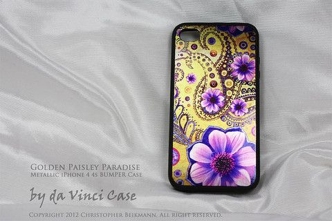 Metallic BUMPER iPhone 4 case - iPhone 4s case - Golden Paisley Paradise http://www.davincicase.com/products/bumper-iphone-4-case-iphone-4s-case-golden-paisley-paradise