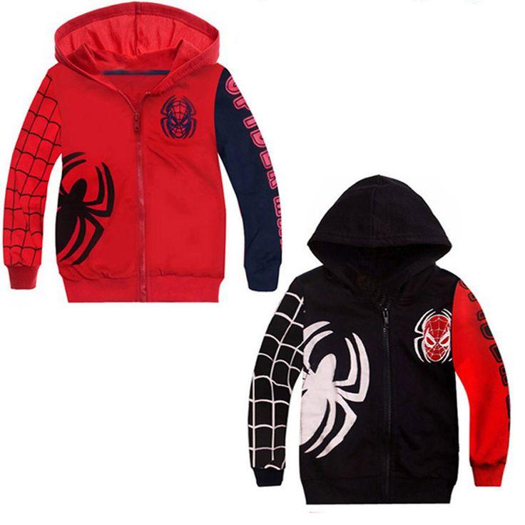 Autumn Boy Kids Clothes coat 2016 Fashion Spider Man Zipper Kids Boys Clothes coat Autumn Outwear Kids Clothes coat For Boy girl