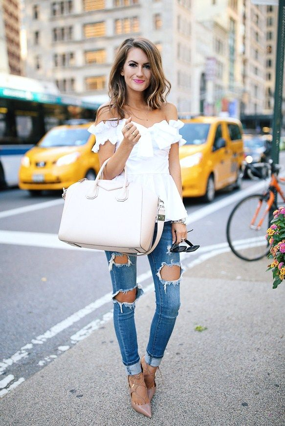 Caroline Caroline Constas top // Charlotte Russe ripped jeans // Givenchy handbagAquazzura heels, similar HERE Fashion Look by Southern Curls And Pearls
