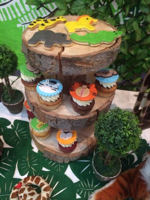 Adorable cookies and cupcakes at a Jungle Safari Birthday Party!  See more party ideas at CatchMyParty.com!