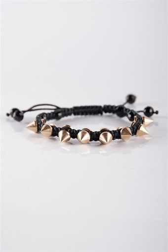 Spiked Shamballa Bracelet - Gold from Jewelry & Accessories at Lucky 21 Lucky 21
