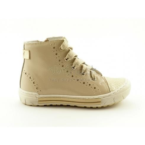 Štýlové pohodlné kožené detské béžové topánočky Emel