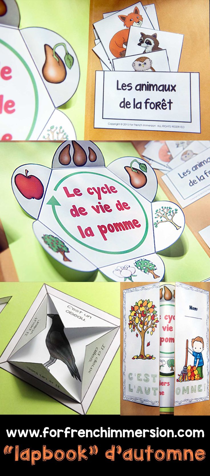 French Fall Lapbook - dossier interactif d'automne. Interactive activities to practice writing, to learn/review vocabulary, and more! En français.