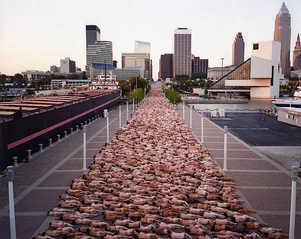 Spencer Tunick Cleveland - I'm way up there about 3/4ths to the far end. 4:30 am start time on a cold Ohio morning. What fun!