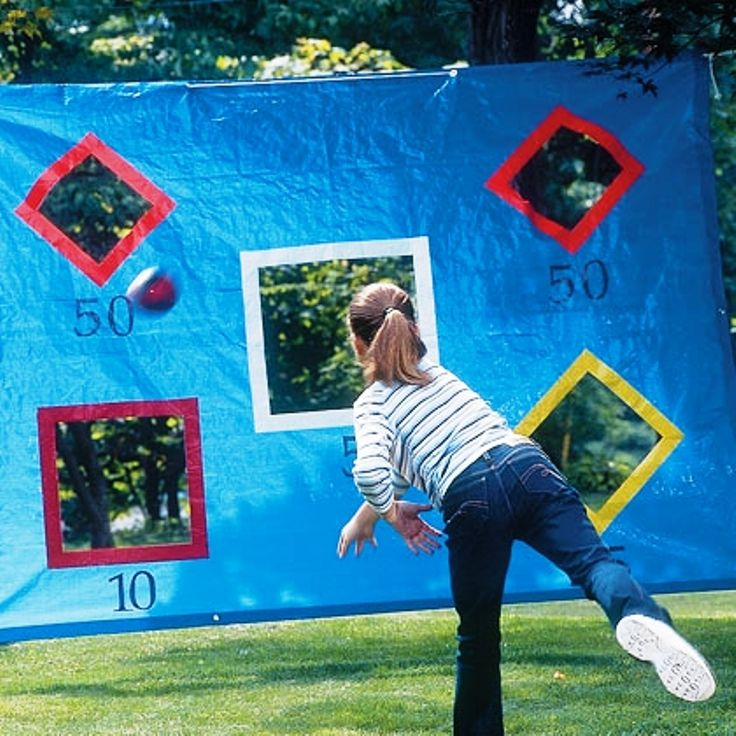 A ground sheet and some tape makes a cheap and easy outdoor game #DIY #Kids