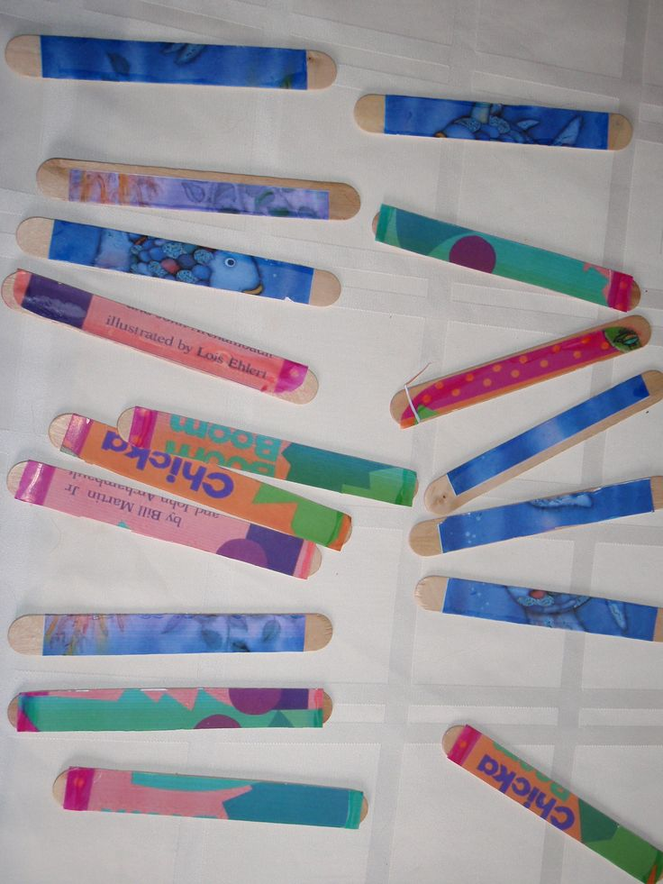 Make puzzles out of large craft sticks and copies of favorite book covers...