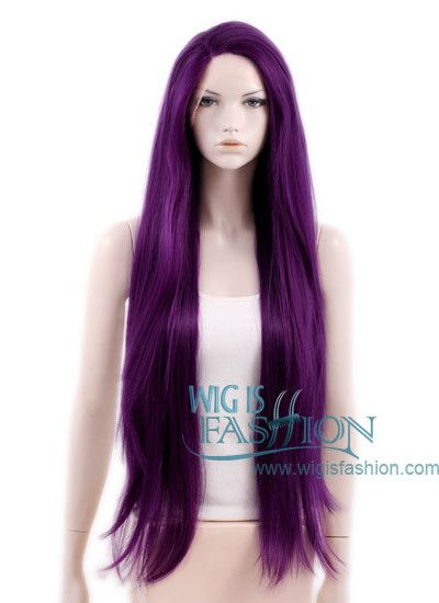 """Customize to darker lace, widow's peak- 28"""" Long Wavy Mixed Purple Customizable Lace Front Synthetic Hair Wig"""