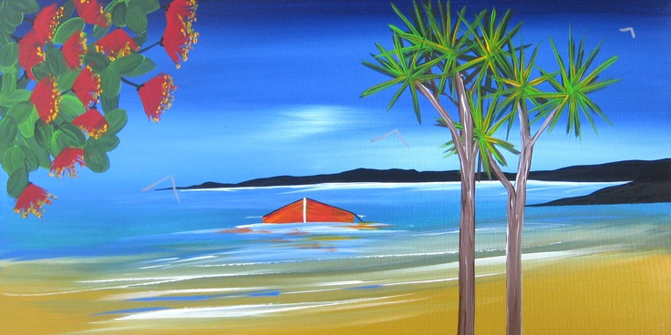 Title: Summers Day: Title: Original landscape painting by artist Megan Morris, painted in acrylics onto framed canvas.
