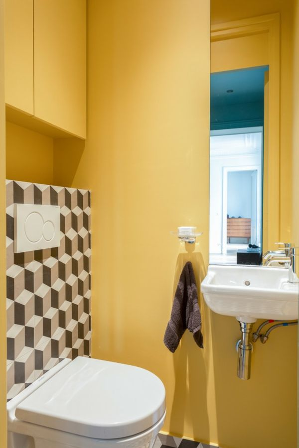 Idee De Peinture Toilettes Tendance Jaune Moutarde Basic Shower Curtain Storage Shower Curtain