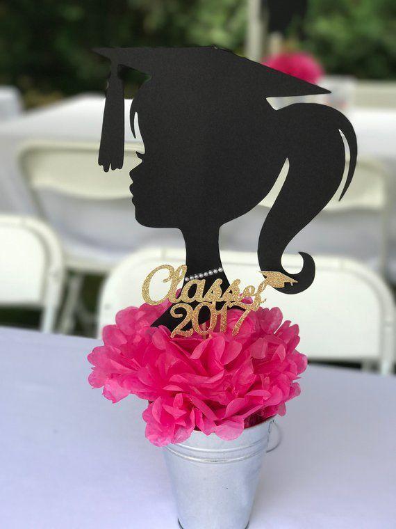DIY Graduation Centerpiece, Graduation Girl Boy Silhouette ausgeschnitten, Abschlussdekoration, Abschlussfeier, 9 Zoll groß, wählen Sie Farben