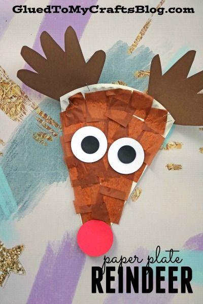 Paper Plate Reindeer- Christmas Kid Craft - Handprint Antlers