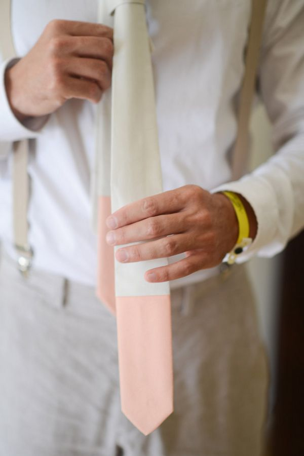 color-dipped tie, photo by Katherine Stinnett http://ruffledblog.com/guanacaste-destination-wedding #ties #groom #wedding