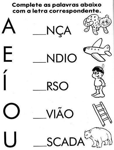 Resultado de imagem para atividades com vogais maternal