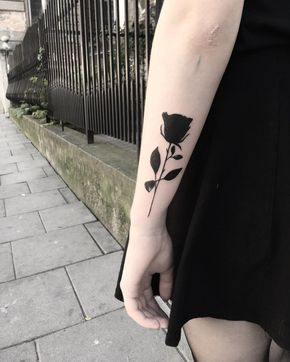 Black Ink Rose Tattoo by Klaudia Hołda
