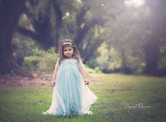 Frozen Dress/Baby blue Chiffon Dress/ Little Girls by RainRene, $175.00