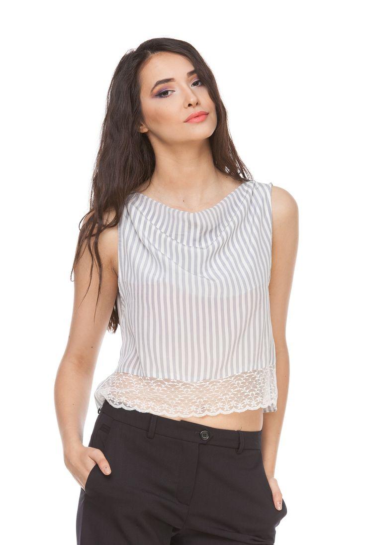 Bluza alb cu gri din matase naturala 6017 de la Ama Fashion